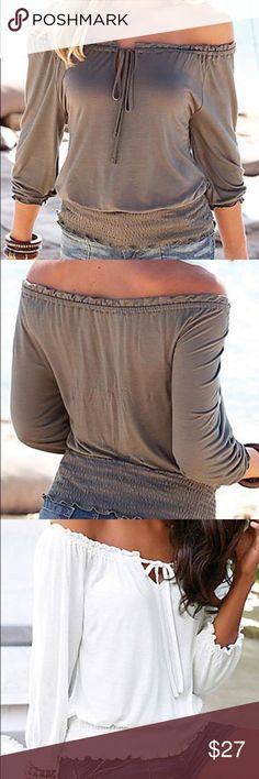FALL STYLES ARE IN Off the shoulder blouse in two colors available as shown. Fashion Fall  This top is sexy, feminine and fashionable! This listing is for beige/tan. Lena's Boutique Tops Blouses