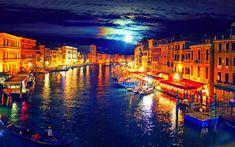 Venice Italy at Night | Venice At Night Painting - wallpaper.