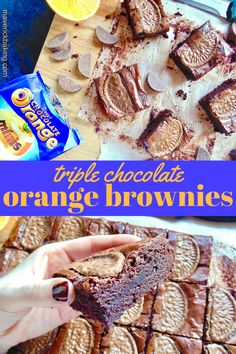 Triple Chocolate Orange Brownies; rich, dense and fudgy chocolate brownies full of zesty orange flavour and topped with Terry's Chocolate Orange segments!
