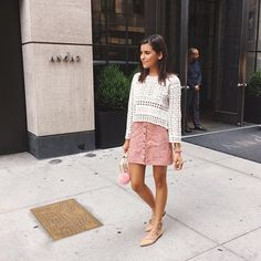 A crochet top and button-front skirt with lace-up flats.