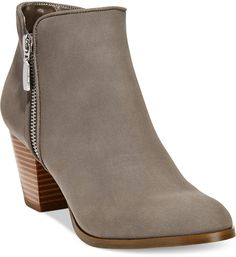 I love this neutral shade bootie! Style& Co. Jamila Zip Booties, Vegan leather Macy's