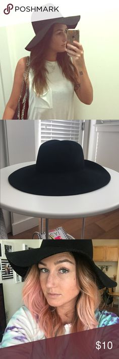 0653bd20905 Forever 21 Panama hat Worn only a handful of times. Plain black felt floppy  brimmed