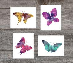 Nursery Print for Girls. Set of 4 Instant printable. Watercolor Nursery print by GrapevineDesignShop on Etsy Bedroom Prints, Bedroom Art, Nursery Prints, Girls Bedroom, Bedrooms, Digital Wall, Kids Prints, Butterfly Print, Girl Nursery