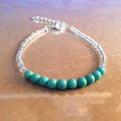 Silver-lined Seed Beaded Bracelet with Blue-Green Magnesite Beads by CVioletJewelry