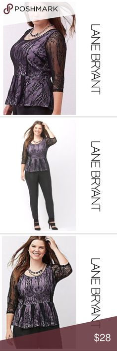 Lane Bryant Lace Peplum Top So pretty and feminine top by Lane Bryant. Black lace over a purple lining. Subtle hi-low hem, scoop neck and There are 3/4 length sheer sleeves. Size 14/16 listed as 1X. EUC. Lane Bryant Tops