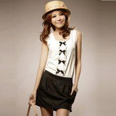 COTTON WHITE BOW KOREAN DRESS