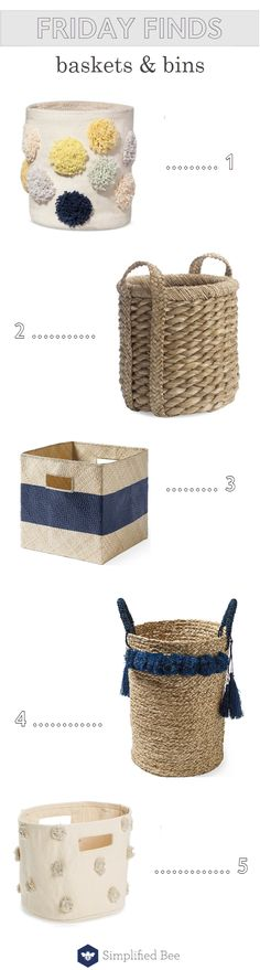decorative baskets and bins // storage solutions // @simplifiedbee #baskets #bins #storage