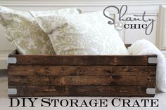 Crates for the Storage Bed - Shanty 2 Chic Diy Wood Projects, Diy Projects To Try, Furniture Projects, Home Projects, Diy Furniture, Woodworking Projects, Woodworking Plans, Diy Storage Crate, Wood Storage