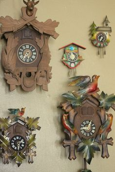 My mom had a clock like the top left one...a gift from Germany from my brother in the army