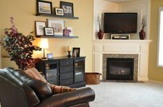 how to decorate a corner fireplace mantle with a tv, ideas and tips