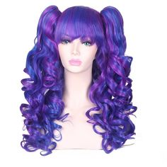 ColorGround Long Curly Lolita Cosplay Wig with 2 Ponytails(Mixed... ($24) ❤ liked on Polyvore featuring costumes, wigs costume, cosplay halloween costumes, cosplay costumes and role play costumes