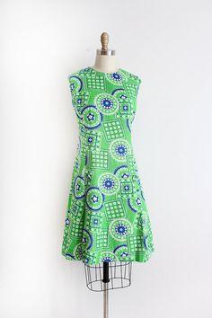 vintage 1960s dress // 60s green bandana print shift dress by TrunkofDresses