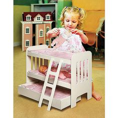 Badger Basket Doll Bunk Bed with Ladder and Trundle