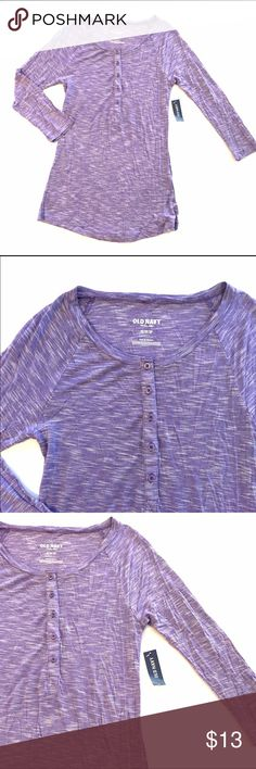 """Old Navy Raglan Henley NWT Super soft Old Navy henley with raglan sleeves.  100% Rayon.  The color is called Pulse Purple; it's a nice grape color.  Armpit to armpit 14"""" length 28"""" Old Navy Tops"""