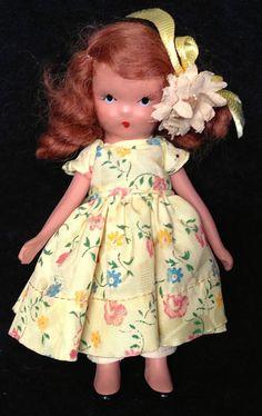 Vintage Bisque Nancy Ann Storybook Doll 121 He Loves Me NASB Yellow Dress Flower #NancyAnnStorybookDoll #DollswithClothingAccessories