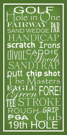 Termes de golf - métro signe typographie Art Print 10 x 20