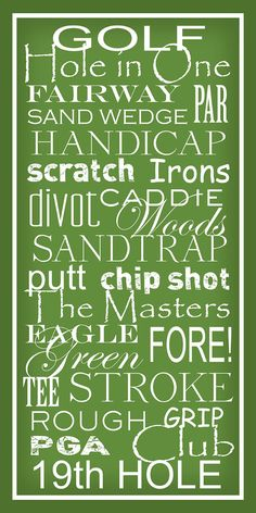 Golf Terms   Subway Sign Art Typography Print 10x20 by PaperBleu, $23.00