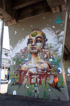 "Street art | Mural (""MAAU"" Museu Aberto de Arte Urbana, São Paulo, Brazil) by Anjo"