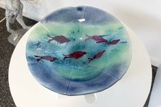 Fused glass - bowl (30 cm) with copper seals