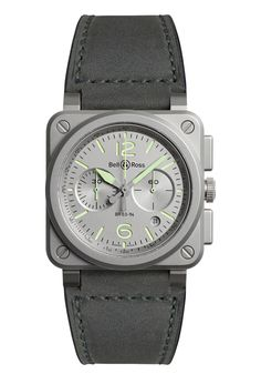 """Limited Edition to 500 pieces.This model evokes light (""""Lumen"""") and readability. The Superluminova® coating facilitates reading byday and night. The color used to light up airport runways is found on the dial of this watch. This intense green light illuminates runways in the dark and offers excellent luminosity and extraordinary night-readability. A watch that is very well suited for """"night owls."""" Bell Ross, Limited Edition Watches, 3 O Clock, Stainless Steel Case, Green And Grey, Chronograph, Jewels, Wrist Watches"""