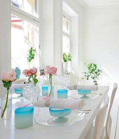 Perfect spa party set up - so simply beautiful with just enough color.