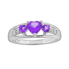 Sterling Silver Amethyst & Diamond Accent Heart 3-Stone Ring