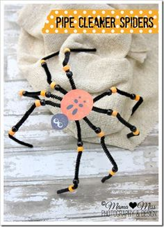 Halloween Kids' Craft. Look at these cute (not scary) spiders…eek! By adding some googly eyes, we have some silly spiders, not scary spiders. :)