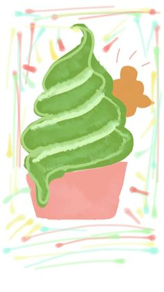 green tea ice cream with bear cookie matcha