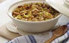 This recipe uses whole wheat bread, organic butter, and Kashi Country Cheddar Cheese Crackers to make a delish alternative to traditional Thanksgiving stuffing. #KashiBetterRecipes