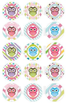 Free Bottle Cap Image Sheets | INSTANT DOWNLOAD - Owl Bottle Cap Images - 4x6 Sheet - 1 Inch Circles ...
