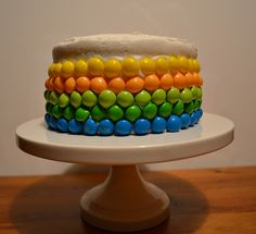 How to make a plain white cake awesome? Add Skittles...