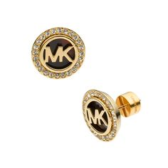 #MK #Trends Michael Kors Logo Pave Stud Golden Earrings