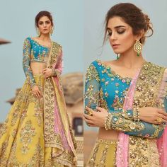 For more information 03003997711 We can Customize any outfit the way you want in. Shadi Dresses, Indian Gowns Dresses, Mehendi Outfits, Indian Bridal Outfits, Half Saree Designs, Lehenga Designs, Muslim Wedding Dresses, Pakistani Bridal Dresses, Mayon Dresses