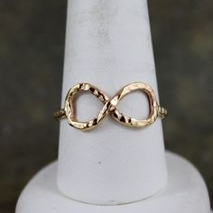 Infinity Ring - 14K Yellow Gold Filled - Unique Rustic Jewellery - Promise Ring - Best Friends - Wedding - Anniversary. $50.00, via Etsy.