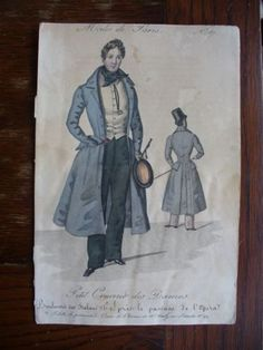 Antique-fashion-print-Modes-de-Paris-1830s-787 Front and back view of a gentleman's walking or riding outfit. He carries a crop and wears spurs on his boots. He wears what might be a quizzing glass around his neck.