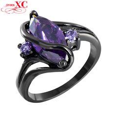 Cheap Encanto S zafiro amatista joyería Vintage mujeres de la boda Anel anillo CZ púrpura Band 14KT negro Gold Filled anillos nupciales RB0047, Compro Calidad Anillos directamente de los surtidores de China:                                                                 &n