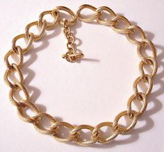 bbe8aa7ba3e788 Monet Chain Lined Link Necklace Choker Gold Tone Vintage Extra Large Wave  Rings Oval Extension Chain