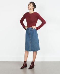 zara vintage style denim skirt