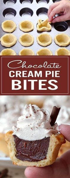 These Chocolate Cream Pie Bites are great for a crowd, and perhaps even better as a bite-sized treat to share with a loved one on a special occasion – with leftovers, of course! # Desserts for a crowd Chocolate Cream Pie Bites - Sugar Apron Mini Desserts, Desserts Keto, Desserts For A Crowd, Party Desserts, Just Desserts, Delicious Desserts, Dessert Recipes, Bite Sized Desserts, Small Desserts
