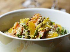 Salade met zalm en mandarijntjes