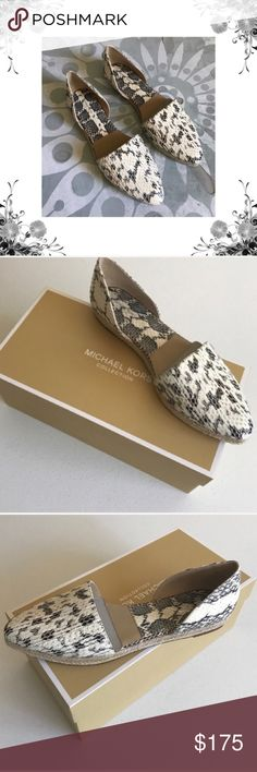 "{Michael Kors} Snakeskin Slip-On Flats Sz 39.5/US 9. Crafted from stunning snakeskin, these are an exotic spin on a timeless style. Pointed-toe silhouette and elegant cutouts lend an alluring element. Wear them with everything! Genuine Snakeskin/Jute. Heel Height: 0.5"". Platform: 0.5"". Jute Heel. Rubber Sole. Almond Toe. Slip On Fastening. Natural. Brand new in box! Thank you for shopping my closet! Michael Kors Collection Shoes Flats & Loafers"