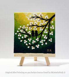 Mini canvas art, Love birds painting, Yellow green Artwork, Mini Painting, Mini Easel, Love birds on tree, Blossom tree paitning, Desktop decor, Gift for her, Art gift ideas, Bookshelf decor, Small artwork, Home decor by SKArtzGallerE
