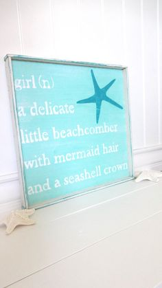 Meet Me Bye The Sea Beach Girl Sea Sign    Plank Style with Beachwood Encasement    17 x 17    Beach Cottage Cute and Ready To Hang    Meet Me