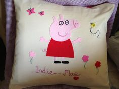personalized peppa pig character cushion. £15.00, via Etsy.