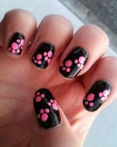 cool nail art designs 2017 - style you 7 Cute Pink Nails, Pink Nail Art, Cute Nail Art, Fancy Nails, Diy Nails, Pretty Nails, Dog Nail Art, Animal Nail Art, Paw Print Nails