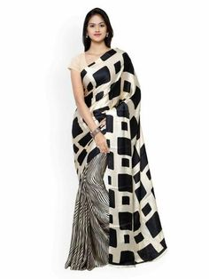 Buy Saree Mall Women's Crepe Saree With Blouse Piece (Crepe Sarees For Women's & White) online in India at best price.Classy, sensuous and versatile are the perfect words to describe this saree from Saree Mall. The crepe Black And White Saree, Off White Saree, Indian Designer Sarees, Latest Designer Sarees, Indian Sarees, Latest Sarees, Floral Print Sarees, Printed Sarees, Crepe Saree