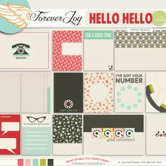 HELLO HELLO Project Life Printable Journal Cards  | by ForeverJoy Designs Digital scrapbooking
