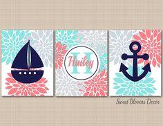 Nautical Nursery Décor,Coral Teal Nautical Wall Art,Navy Coral Aqua Gray Nursery Wall Art,Nautical Monogram,Wall Art,Coral Gray Nutical Wall Art-UNFRAMED Set of 3 PRINTS (NOT CANVAS) c343 -- Click on the image for additional details. (This is an affiliate link) #KidsRoomDecor