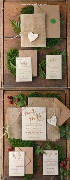 Rustic real wood wedding invitations