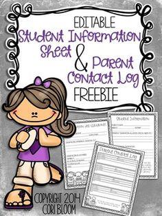 Editable Student Information Sheet & Parent Contact Log Music Themed!! FREEBIE